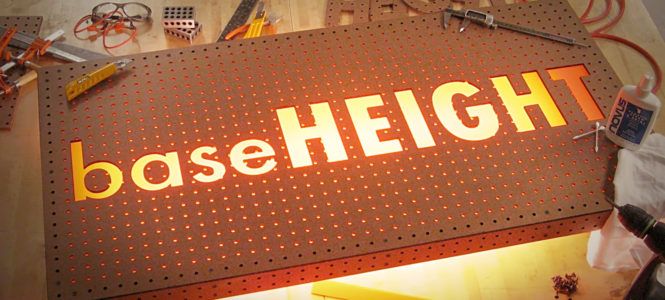 Laser Cut Baseheight Pegboard Sign