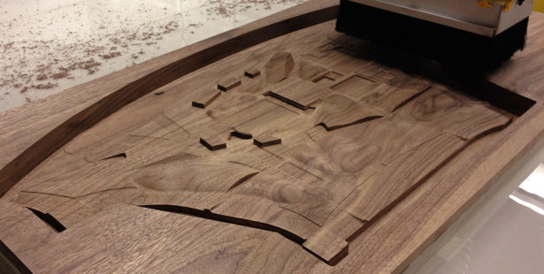 CNC Routing Walnut Architectural Site Model