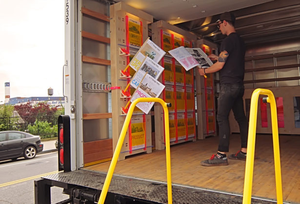 Newspaper Holders on Core 77 Design Week Delivery Truck