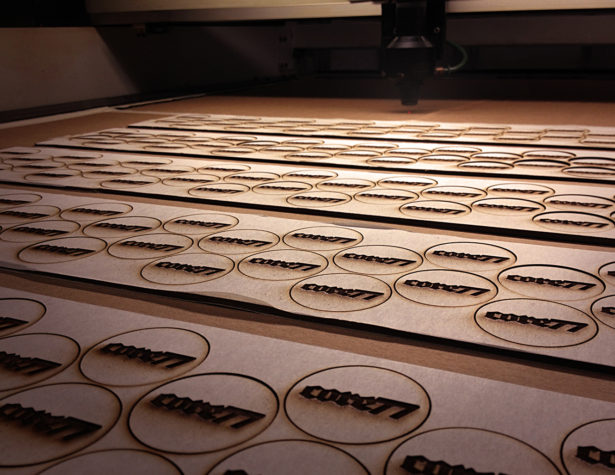 Laser Engraving Poker Chips for Core77 Conference